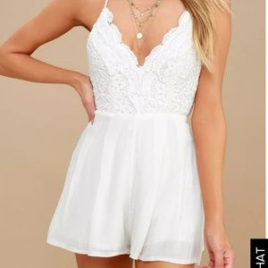 Star spangle ivory backless lace romper